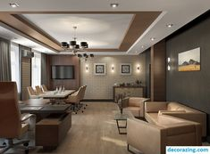 Gorgeous Living Room Office Design For Your Home Office Ceiling Design, House Ceiling Design, Ceiling Design Living Room, Home Office Design, Office Designs, Cabin Interior Design, Cabin Design, Home Interior, Interior Modern