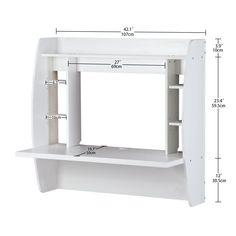 DEVAISE Wall Mounted Computer Desk with Storage, White: Amazon.co.uk: Kitchen & Home