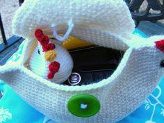 Crochet chicken purse - because everyone should have a chicken purse.