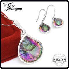 Magnifique Brillant Lady Rainbow Mystic Topaz Gemstone Silver Drop Collier Pendentifs