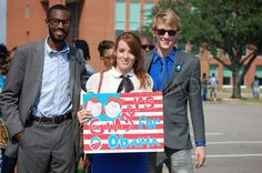 Terrell Kingwood, President of the Old Dominion Young Democrats, Alexandra Stephens, Vice President, Director of outreach and policy engagement ODU YD, and Alex Jones, Chief of Staff, ODU YD, pictured here at Norfolk State University campaign rally.
