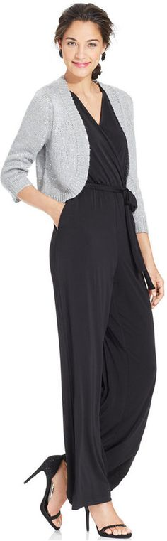 NY Collection Sleeveless Wide Leg Jumpsuit