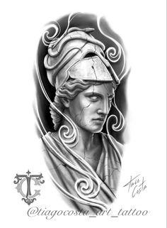 Athena Tattoo, Zeus Tattoo, Chicano Art Tattoos, Body Art Tattoos, Japanese Leg Tattoo, Tattoo Brazo, Greek Mythology Tattoos, Family Tattoo Designs, Greece Art