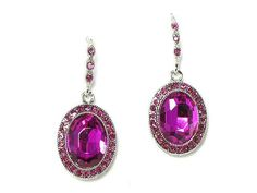 Vintage Inspired Estate Fuschia Oval Crystal Earrings (Sparkle-98-U)