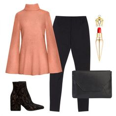 - A bell-sleeve sweater, brocade boots and a sleek clutch are at once cozy and chic over basic black. A vibrant lip is a glamorous pop.