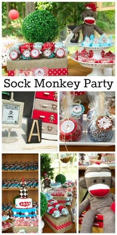 Such a cute sock monkey 1st boy birthday party! See more party ideas at CatchMyParty.com.