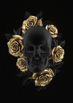Happy Birthday Skull Images Awesome Skull Art by Uk Artist Billelis Black and Gold Skull Gold Skull, Black Skulls, Bijou Geek, Images Aléatoires, Black And Gold Aesthetic, Totenkopf Tattoos, Skull Pictures, Or Noir, Bild Tattoos
