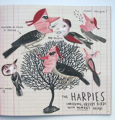 Sara Fanelli - Mythological Monsters book / The Harpies -- Collage style work. Interesting perspective on people/bird. How are the people in the story viewed? Are they seen from a distorted perspective?
