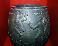 In 1848 this beautifully decorated pot was discovered in a Roman grave at West Lodge in Colchester. It dates from around AD 175 and was probably made in Colchester. Four gladiators can be seen on the base. Above them are inscribed the names Secundus, Mario, Memnon and Valentinus. It is one of the finest examples of ceramic art know from Roman Britain.