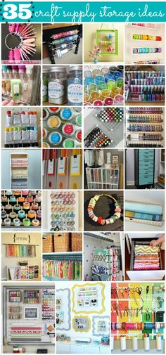 "35 ""Crafty"" Craft Supply Ideas - Great storage solutions for glitter, paint, ribbon, washi, and more!"