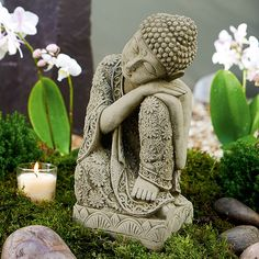 Our Resting Buddha garden statue is perfect for quiet contemplation as you get lost in the calming ambience of your outdoor space. Buddha Garden, Buddha Zen, Garden Statues, Garden Sculpture, Meditating Buddha Statue, Buddha Home Decor, Buddha Wall Art, Meditation Garden, Flower Canvas