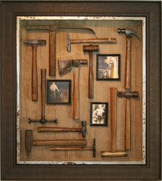 Grandpa's Hammers displayed in Shadowbox Antique Tools, Old Tools, Vintage Tools, Display Wall, Display Design, Display Boxes, Shadow Box Memory, Diy Shadow Box, Diy Frame