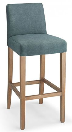 Farzom blue fabric seat kitchen breakfast bar stool wooden frame fully assembled