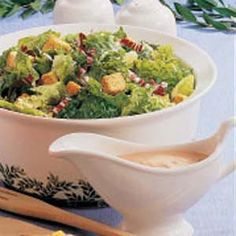 """This creamy dressing has a fresh taste that complements any tossed salad,"" says field editor Elizabeth Hunter of Prosperity, South Carolina. Spagetti Salad Recipes, Spaghetti Salad, Vegetarian Salad Recipes, Healthy Recipes, Homemade Thousand Island Dressing, Vegtable Salad, Congealed Salad, Salad Dressing Recipes, Salad Dressings"