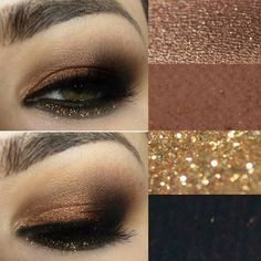 Shimmery copper, gold, and black eye makeup