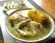 Ajiaco Bogotano: Colombian potato soup served with chicken and corn