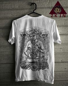 Zack Jordan T-shirt. flower skull girls
