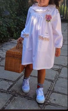 School smock for girl - white kindergarten smock - preschool dress - school clothes - cotton smock Dress Anak, Baby Dress, Cloths, Nursery, Beautiful, Dresses, Style, Outfits, Girls Dresses