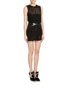 BALMAIN SLEEVELESS BEADED FRINGE MINI DRESS, BLACK. #balmain #cloth #