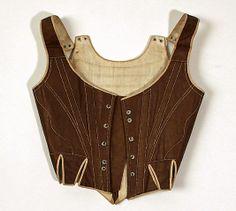 Corset Date: 1780s–90s    Culture:     European  Medium: cotton, wood                 Dimensions: Length at CB: 10 in. (25.4 cm)  The Metropolitan Museum of Art