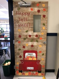 This little red truck with pumpkins is the perfect thing to get you in the fall mood! Happy Fall Y'all! Apple Theme Classroom, Fall Classroom Door, Fall Classroom Decorations, Class Decoration, Classroom Themes, Farm Bulletin Board, Elementary Bulletin Boards, Kindergarten Bulletin Boards, Preschool Door