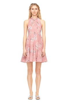 Faded Floral Silk Knot Neck Dress | Rebecca Taylor