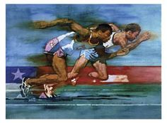 SPRINT GLORY USA Patriotic Sports Poster Art Print - by C. Michael Dudash - 100 Meter Dash ~Available at www.sportsposterwarehouse.com