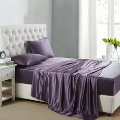 OOSilk 4 Pieces 100% Mulberry Charmeuse Silk Bed Sheet Set Seamless Deep Pocket (Full, Purple)