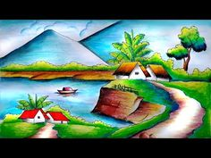 Beautiful Scenery Drawing with Oil Pastels-Step by Step Beautiful Scenery Drawing, Easy Scenery Drawing, Beautiful Drawings, Nature Drawing For Kids, Art Drawings For Kids, Easy Drawings, Oil Pastel Paintings, Oil Pastel Drawings, Oil Pastel Colours