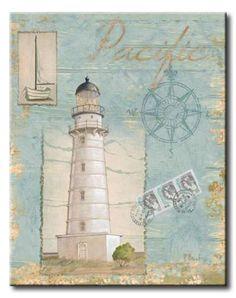Seacoast Lighthouse II Canvas Print / Canvas Art by Paul Brent Decoupage Vintage, Vintage Diy, Deco Marine, Lighthouse Art, Lighthouse Pictures, Framed Artwork, Wall Art, Images Vintage, Nautical Art