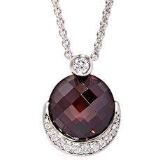 Gorgeous Maroon Stone Sterling Silver Necklace with Cubic Zirconia Crescent Detail Dress Rings, Swarovski Jewelry, Beautiful Eyes, Sterling Silver Necklaces, Jewelry Stores, Larger, Stones, Delicate, Gems