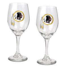 NFL Washington Redskins 14-Ounce Wine Glass (Set of Two) by Great American Products. Save 3 Off!. $28.99. High quality collectible design. Handcrafted  high-quality metal logo. Each glass has a sophisticated styling that works great with whites, reds or a mimosa.. This gift set contains 2 wine glasses decorated with high-quality metal logos.
