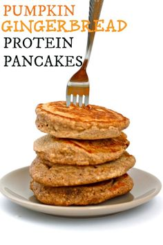The Ultimate Epic Protein Packed Pancakes and Waffles Roundup like these Pumpkin Gingerbread Protein pancakes from the Big Man's World
