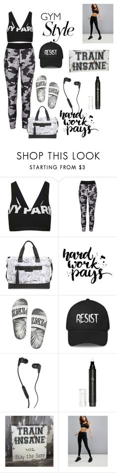 """Black and white gym style 💪"" by ayah999 ❤ liked on Polyvore featuring Topshop, River Island, Balsa 201, Skullcandy, e.l.f. and Hoxton Haus"