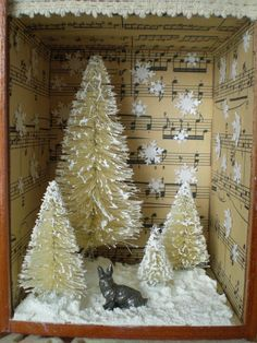 Winter Wonderland - Either paint the outside of a box (shoebox) or decorate it w/music sheets.  Use the music sheets to line the inside also. Adhere a strip of lace to the top border of the box.  Insert miniatures (like shown or decorate w/one Christmas Tree w/little toys & presents on a doily)and flock.