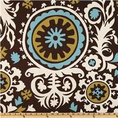 Premier Prints Suzani Chocolate/Natural, $7.48 per yard, fabric.com. These are my curtains! Different color though.