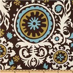 Damask fabric- Premier Prints Suzani Chocolate/Natural. Perfecta para la ducha!