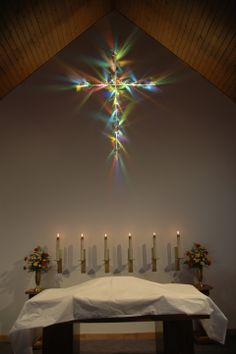 """""""Cross of Light"""" Christ Lutheran Church, Anderson, IN /> Dichroic glass, Xenon light. Lutheran, Dichroic Glass, Artsy Fartsy, Christ, Chandelier, Ceiling Lights, Table Decorations, Lighting, Anderson Indiana"""