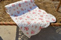 Shabby Chic quilted bedspread rose print cotton quilt
