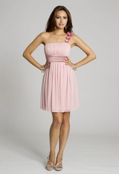 Blush and bashful is the simple cute dress with just enough fashion flare with its flower-detailed one shoulder and satin sash for the waist.  It's a very flowy dress with a tie back and a perfectly gathered bodice with empire styled waist.You can wear this as a Day Party Dress, a Homecoming Dress, Prom Dress and even a Bridesmaids Dress that would be perfect for a destination wedding.  Go as a guest of Wedding in this dress or to any dressy Day into Evening party or event.  It goes very ...