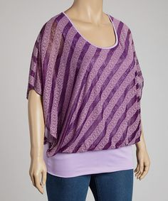 Take a look at this Purple Stripe Cape-Sleeve Top - Plus by Yummy on #zulily today!