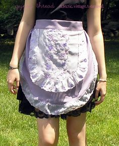 Lilac Ruffle Hostess Apron with Vintage Details by GypsyThread