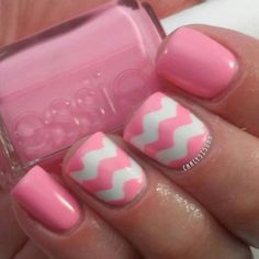 Chevron Nail Style with Baby Pink and White.