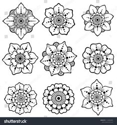 Set of Mehndi flower pattern for Henna drawing and tattoo. Decoration in ethnic oriental, Indian style. Set of Mehndi flower pattern for Henna drawing and tattoo. Decoration in ethnic oriental, Indian style. Henna Tattoo Designs, Henna Tattoos, Henna Tattoo Muster, Henna Hand Designs, Mehndi Designs For Beginners, Mehndi Art Designs, Simple Mehndi Designs, Mehndi Designs For Hands, Henna Flower Designs
