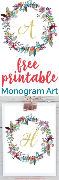 Beautiful free printable monogram art for your home-these would be so pretty in a nursery or gallery wall! All letters of the alphabet available!