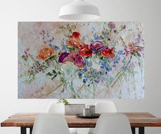 Large Art Big Painting Large Poster Flowers Oil Painting Peonies Roses Lilac Ginger Red Blue Turquoise Cipria Art Cottage Home Wall Print Ha Oil Painting Flowers, Large Painting, Living Room Decor Palette, Painting Gallery, Modern Wall Art, Large Art, Printable Art, Painting Inspiration, Wall Decor
