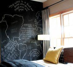 Schoolbordverf muur slaapkamer