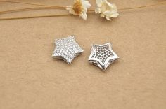1pc 12mm 925 Sterling Silver Zircon Star Spacer Bead / Connector, 925 Silver Zircon Pendant / Charm (S219S)
