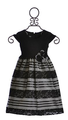 Isobella and Chloe Girls Special Occasion Dress in Black (12Mos, 2T