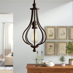 >@ Balduíno Geometric Pendant By Birch Lane™ Heritage Hallway Lighting, Overhead Lighting, Lighting Ideas, Lantern Pendant, Pendant Lighting, Traditional Furniture, Traditional Kitchen, Globe Lights, Birch Lane